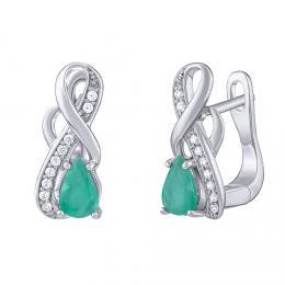 SILVEGO Støíbrné náušnice Estelle s pravým Smaragdem a èirými Brilliance Zirconia