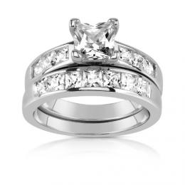 PRIA st��brn� set prsten� s briliantov�m v�brusem