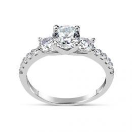 SILVEGO zбsnubnн prsten CLAIRE ze stшнbra se Swarovski(R) Crystals