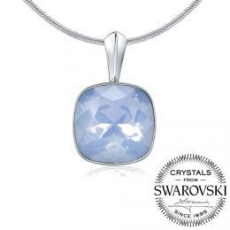 SILVEGO st��brn� p��v�sek se Swarovski® Crystals modr� op�l 12mm