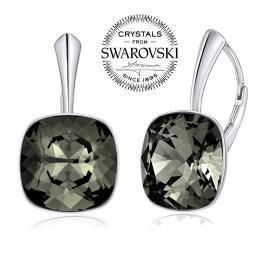 SILVEGO stшнbrnй nбuљnice se Swarovski(R) Crystals Black Diamond 12mm