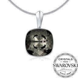 SILVEGO stшнbrnэ pшнvмsek se Swarovski(R) Crystals Black Diamond 12mm