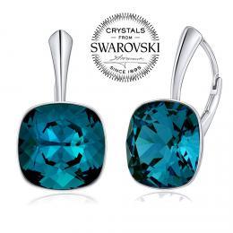 SILVEGO stшнbrnй nбuљnice se Swarovski(R) Crystals Indicolite 12mm