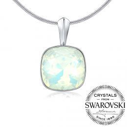 SILVEGO st��brn� p��v�sek se Swarovski(R) Crystals b�l� op�l 12mm