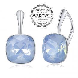 SILVEGO støíbrné náušnice se Swarovski® Crystals modrým opálem 12mm