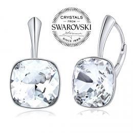 SILVEGO stшнbrnй nбuљnice se Swarovski(R) Crystals SQUARE 12mm