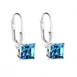 SILVEGO støíbrné náušnice kostky AQUAMARINE se Swarovski® Crystals