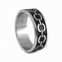 Ocelov� prsten s �ern�m smaltem - AKCE - zv�t�it obr�zek