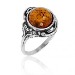 St��brn� prsten s Jantarem