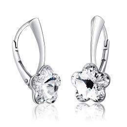 SILVEGO støíbrné náušnice se Swarovski® Crystals kvìt èirý