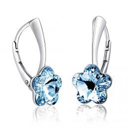 SILVEGO støíbrné náušnice se Swarovski® Crystals kvìt modrý