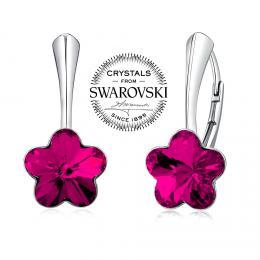SILVEGO st��brn� n�u�nice se Swarovski(R) Crystals kv�t fuchsie