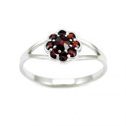 Støíbrný prsten s pravým granátem MARGUERITE