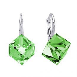 SILVEGO stшнbrnй nбuљnice kostky s krystalem Swarovski zelenй