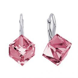 SILVEGO stшнbrnй nбuљnice rщћovй kostky Swarovski(R) Crystals