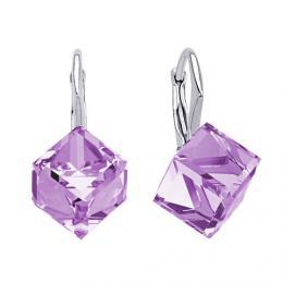 SILVEGO st��brn� n�u�nice fialov� CUBE Swarovski(R) Crystals