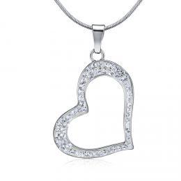 SILVEGO støíbrný pøívìsek srdce se Swarovski® Crystals