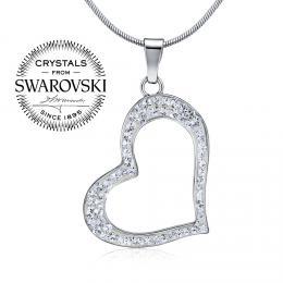 SILVEGO stшнbrnэ pшнvмsek srdce se Swarovski(R) Crystals