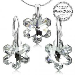 SILVEGO stшнbrnб souprava vloиky se Swarovski® Crystals 20mm Argent