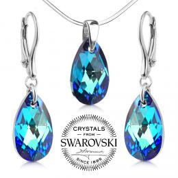 SILVEGO st��brn� set Kapka 16mm se Swarovski® Crystals Bermuda Blue