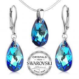 SILVEGO st��brn� set Kapka 16mm se Swarovski(R) Crystals Bermuda Blue
