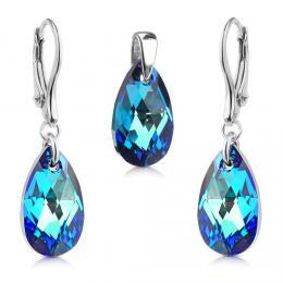SILVEGO støíbrný set Kapka 16mm se Swarovski® Crystals Bermuda Blue