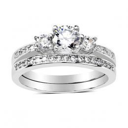 Set prstenщ ze stшнbra se Swarovski Zirconia