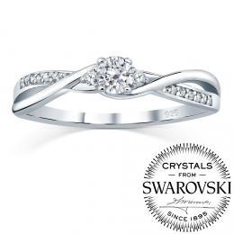 SILVEGO st��brn� prsten se Swarovski(R) Crystals