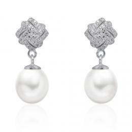 Silvego støíbrné luxusní náušnice Victorina s bílou pøírodní perlou a zirkony