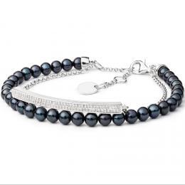 Dvojitý perlový náramek z pøírodních èerných perel s øetízkem a zirkony a se støíbrným zapínáním