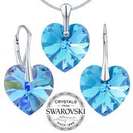 SILVEGO st��brn� set Srdce Aquamarine se Swarovski® Crystals