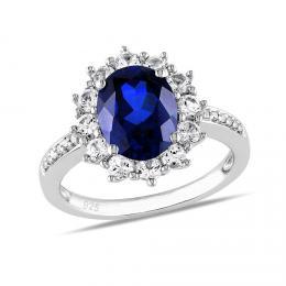 Stшнbrnэ prsten princezny Kate se syntetickэm Safнrem
