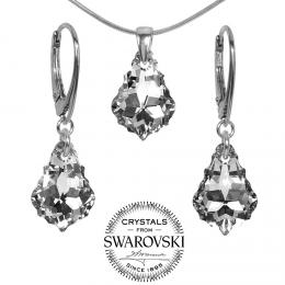 SILVEGO st��brn� set se Swarovski(R) Crystals Baroque 11x16mm Argent