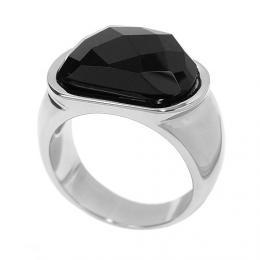 Ocelovэ prsten s иernou keramikou