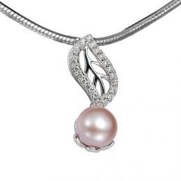 St��brn�  p��v�sek zdoben� perlou a k�i���lem - zv�t�it obr�zek