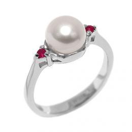 Stшнbrnэ prsten MELIA s perlou a rubнnem