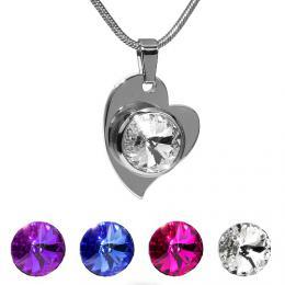 SILVEGO p��v�sek ocelov� srdce se Swarovski(R) Crystals