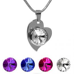 SILVEGO pшнvмsek ocelovй srdce se Swarovski(R) Crystals