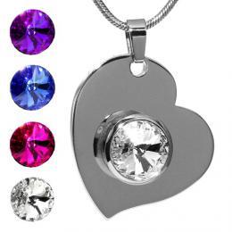 SILVEGO nerezov� p��v�sek srdce se Swarovski(R) Crystals