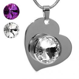 SILVEGO srdce z chirurgick� oceli se Swarovski(R) Crystals