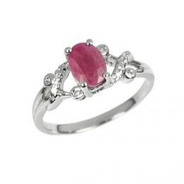St��brn� elegantn� prsten s prav�m Rub�nem