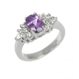 Elegantnн stшнbrnэ prsten s pшнrodnнm Ametystem JGFR0176