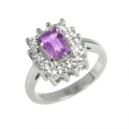 Elegantn� st��brn� prsten s p��rodn�m Ametystem JGTCR0257
