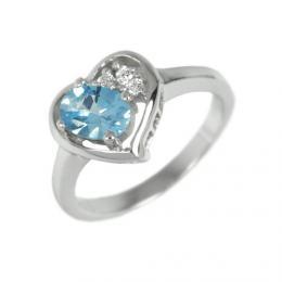 Obl�ben� st��brn� prsten srdce s prav�m Topazem