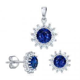 Støíbrný set šperkù FLORESSA se syntetickým safírem - zvìtšit obrázek