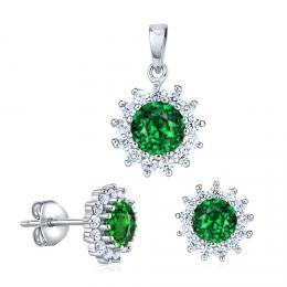 Støíbrný set šperkù FLORESSA se syntetickým smaragdem - zvìtšit obrázek