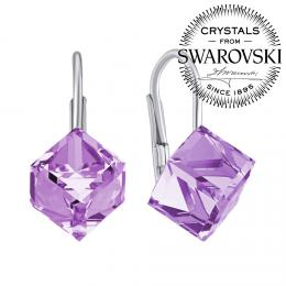 SILVEGO støíbrné náušnice fialové kostky Swarovski® Crystals