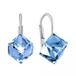SILVEGO støíbrné náušnice modré kostky Swarovski® Crystals