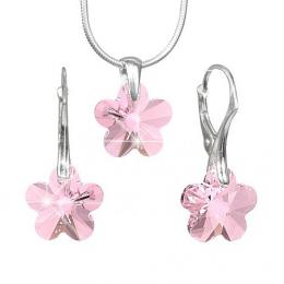 Stшнbrnэ set Kvмtina 14mm se Swarovski Elements - Light Rose