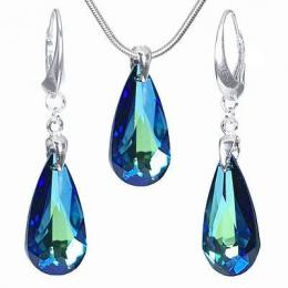 St��brn� set Bermuda Blue se Swarovski Elements